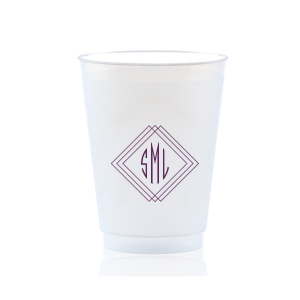Our custom Frost Flex Cup with Matte Eggplant Ink Cup Ink Colors has a Diamond Frame graphic and is good for Wedding, Anniversary and Home parties and couldn't be more perfect. It's time to show off your impeccable taste.