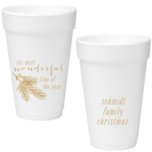 Our custom Gold Ink 16 oz Foam Cup with Gold Ink Print Color has a Pine graphic and is good for use in Floral themed parties and will look fabulous with your unique touch. Your guests will agree!