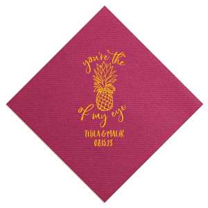 Custom Fuchsia Cocktail Napkin with Matte Sunflower Foil has a Pineapple Tiki graphic and is good for use in Food, Beach/Nautical themed parties and will add that special attention to detail that cannot be overlooked.