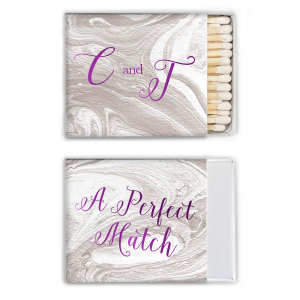 The ever-popular Marble Taupe Classic Matchbox with Shiny Amethyst Foil are a must-have for your next event—whatever the celebration!
