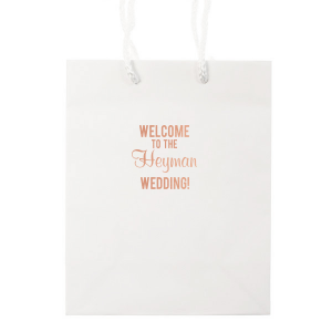 ForYourParty's personalized White Euro Bag with Shiny Rose Gold Foil are a must-have for your next event—whatever the celebration!
