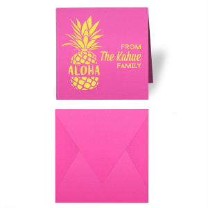 Our personalized Neon Pink Gift Enclosure with Matte Mimosa Yellow Foil has an Aloha Pineapple graphic and is good for use while Traveling or at Home and are a must-have for your next event—whatever the celebration!
