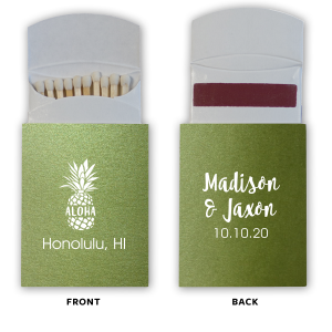 The ever-popular Poptone Kiwi Classic Matchbox with Matte White Foil Color has a Aloha graphic and is good for use in Words themed parties and will give your party the personalized touch every host desires.