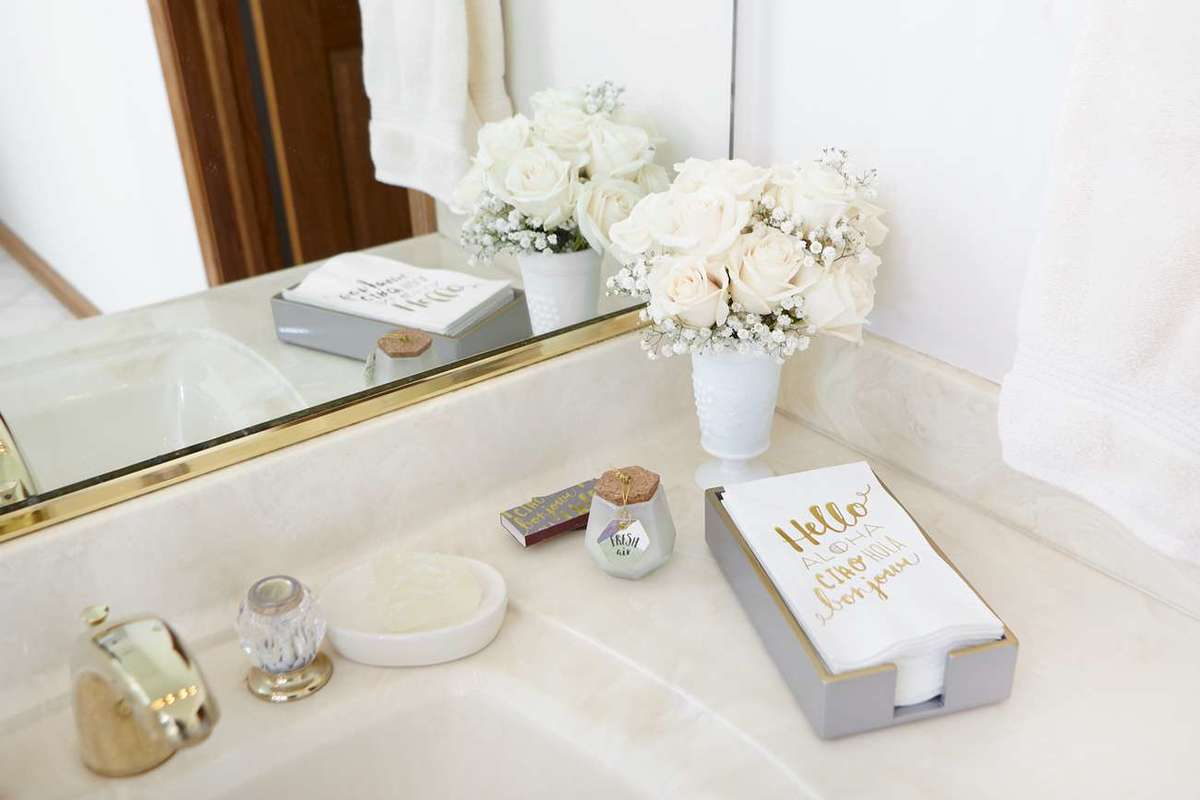 "designer curated ""hello"" powder room gift set"