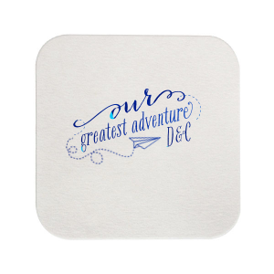 Our personalized White Square Coaster with Shiny Turquoise Foil has a Paper Airplane graphic and is good for use in Kid Birthday, Birthday themed parties and will add that special attention to detail that cannot be overlooked.