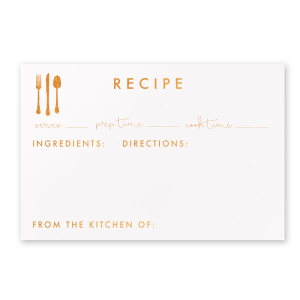 Custom Natural Frost White Recipe Card with Shiny Copper Foil has a Place Setting graphic and is good for use in Food themed parties and will look fabulous with your unique touch. Your guests will agree!
