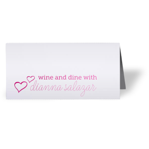 Show your guests to their seats in style with a custom place card. Perfect for a little wine and dine bridal shower, bachelorette or birthday party. the hand lettered script and little hearts add a playful feminine touch your guests will gush over.