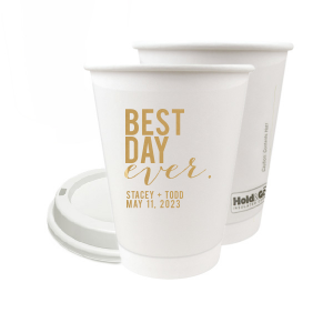 ForYourParty's personalized Gold Ink 8 oz Paper Coffee Cup with Lid with Gold Ink Cup Ink Colors can be customized to complement every last detail of your party.