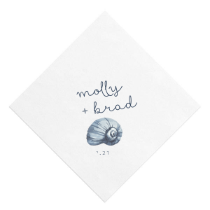 Personalized White Borderless Photo/Full Color Cocktail Napkin with Matte Navy Ink Digital Print Colors can't be beat. Showcase your style in every detail of your party's theme!