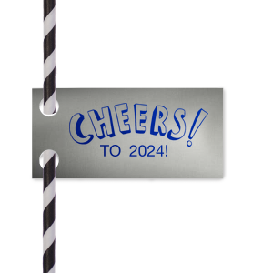The ever-popular Glitter Black Rectangle Straw Tag with Matte White Foil has a Cheers graphic and is good for use in Words, Drinks, Hearts themed parties and will look fabulous with your unique touch. Your guests will agree!
