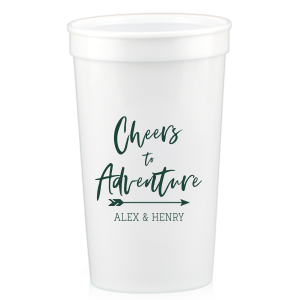 ForYourParty's chic White 16 oz Stadium Cup with Matte Spruce Cup Ink Colors has a Arrow graphic and is good for use in Engagement, Wedding and Milestone themed parties and will look fabulous with your unique touch. Your guests will agree!