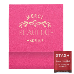 "Merci Beaucoup Favor - Matte Ivory - Tea Favor - Personalized - Set of 50 - 2.75 x 2.375"""" by ForYourParty.com"