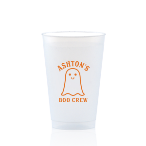 Our custom 12 oz Frosted Plastic Cup with Matte Tangerine Ink Cup Ink Colors has a Baby Ghost graphic and is good for use in Halloween themed parties and can be personalized to match your party's exact theme and tempo.