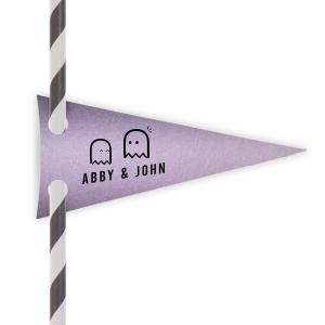 Our beautiful custom Stardream Lavender Double Point Straw Tag with Matte Black Foil can be personalized to match your party's exact theme and tempo.