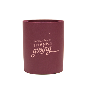 Our custom Burgundy Flat Can Cooler with Matte Pastel Pink Ink Cup Ink Colors has a Tree RSVP graphic and is good for use in Lovely Press themed parties and are a must-have for your next event—whatever the celebration!