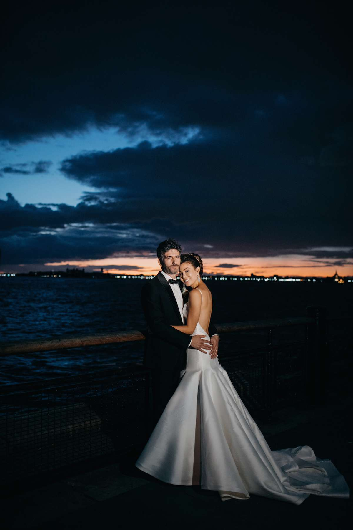 new york bridal photoshoot with bachelor shoreline joint at sunset