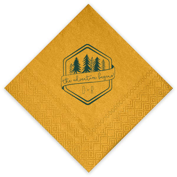 adventure begins shimmer wedding napkins