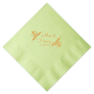 Our personalized Woven Sage Cocktail Napkin with Shiny Copper Foil has a Rustic Leaf Accent graphic and is good for use in Wedding, Engagement and Bridal Shower themed parties and will look fabulous with your unique touch. Your guests will agree!