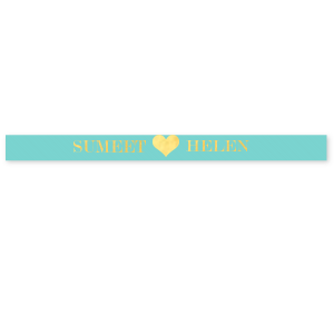 "ForYourParty's elegant Tiffany Blue 5/8"" Satin Ribbon with Shiny 18 Kt Gold Foil has a Heart Solid graphic and is good for use in Hearts, Wedding themed parties and will give your party the personalized touch every host desires."