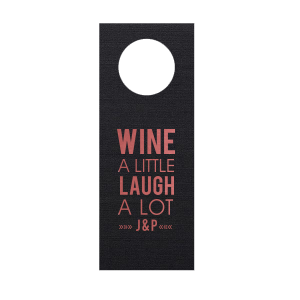 Personalized Linen Black Wine Gift Tag with Shiny Rose Quartz Foil Color can be personalized to match your party's exact theme and tempo.