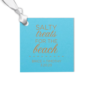 Thank your guests for coming with a destination wedding treat bag tied with this custom gift tag. Add your names and wedding date to the beach themed square tag for a personal touch.
