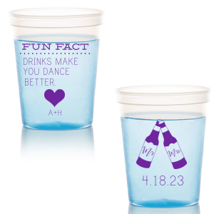 The ever-popular White 22 oz Stadium Cup with Matte Amethyst Ink Screen Print has a Heart Solid graphic and a Mr & Mrs Bottles graphic and is good for use in Wedding themed parties and can't be beat. Showcase your style in every detail of your party's theme!