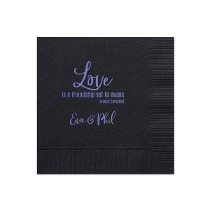 Our custom Black Cocktail Napkin with Shiny Lavender Foil will impress guests like no other. Make this party unforgettable.