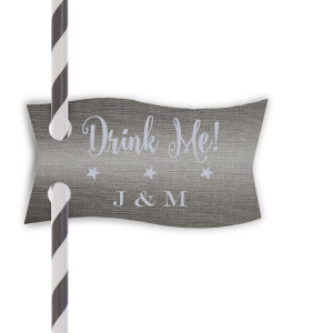 Our beautiful custom Linen Slate Double Point Straw Tag with Matte Dove Grey Foil will make your guests swoon. Personalize your party's theme today.