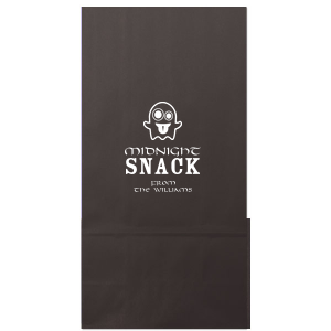 ForYourParty's personalized Black Party Bag with Matte White Foil Color has a Ghost 2 graphic and is good for use in Halloween themed parties and are a must-have for your next event—whatever the celebration!