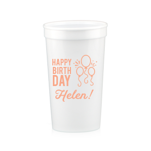 Our beautiful custom White 16 oz Stadium Cup with Matte Light Coral Ink Cup Ink Colors has a Balloons graphic and is good for use in Kid Birthdays, and Adult  Birthdays alike. Showcase your style in every detail of your party's theme!