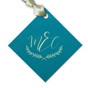 Personalized Poptone Teal/Peacock Luggage Gift Tag with Shiny Green Tea Foil has a Branch Frame 2 graphic and is good for use in Floral, Frames, Wedding themed parties and will impress guests like no other. Make this party unforgettable.