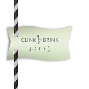 Clink & Drink the night away with these custom straw tags! Personalize with your special date and theme colors for a bar detail guests will adore. Perfect for a wedding reception, engagement party, graduation and more.