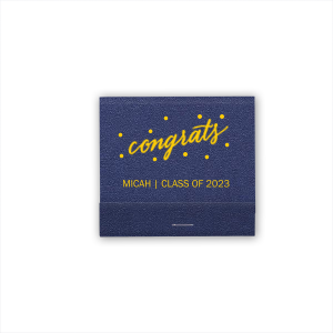 Personalized Shimmer Navy 30 Strike Matchbook with Matte Sunflower Foil has a Congrats graphic and is good for use in Graduation, Retirement, Birthday and other Milestone parties and will make your guests swoon. Personalize your party's theme today.