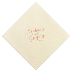 ForYourParty's chic Ivory Cocktail Napkin with Shiny Rose Gold Foil can be personalized to match your party's exact theme and tempo.