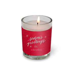 Our custom Poptone Convertible Red Votive Candle with Satin Sterling Silver Foil has a Season's Greetings graphic and is good for use in Words, Holiday, Christmas themed parties and can be personalized to match your party's exact theme and tempo.