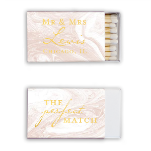Our custom Marble Blush Classic Matchbox with Shiny 18 Kt Gold Foil couldn't be more perfect. It's time to show off your impeccable taste.