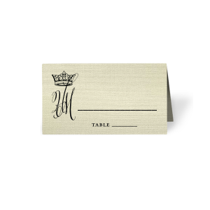 Our custom Linen Pearl Cream Regal Place Card with Matte Black Foil has a Crown graphic and is good for use in Royal and Formal parties and will add that special attention to detail that cannot be overlooked.