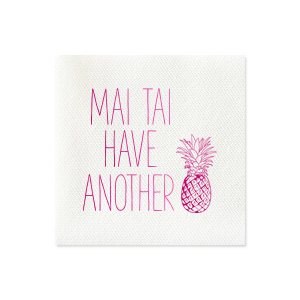 ForYourParty's chic Turquoise Cocktail Napkin with Shiny Fuchsia Foil has a Pineapple graphic and is good for use in Food themed parties and are a must-have for your next event—whatever the celebration!