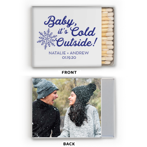 Our beautiful custom White Classic Photo/Full Color Matchbox with Matte Cobalt Ink Digital Print Colors has a Snowflake graphic and is good for use inWinter and Wedding themed parties and will make your guests swoon. Personalize your party's theme today.