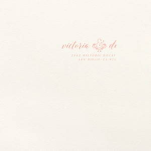 Our custom Lettra Pearl White 110lb Invitation Envelope with Coral Ink Letterpress Inks has a Accent Ampersand 2 graphic and is good for use in Couple, Wedding themed parties and will impress guests like no other. Make this party unforgettable.