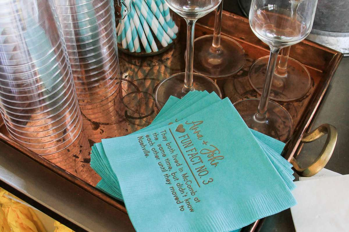 custom fun fact cocktail napkins