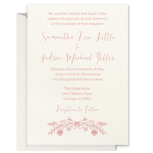 ForYourParty's personalized Lettra Pearl White 110lb Invitation with Black Ink Letterpress Inks has a Rose Laurel graphic and is good for use in Wedding, Floral themed parties and can be customized to complement every last detail of your party.