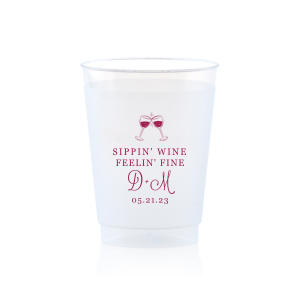 Custom Matte Dark Magenta Ink 10 oz Frost Flex Cup with Matte Dark Magenta Ink Cup Ink Colors has a Wine Toast graphic and is good for use in Drinks themed parties and are a must-have for your next event—whatever the celebration!