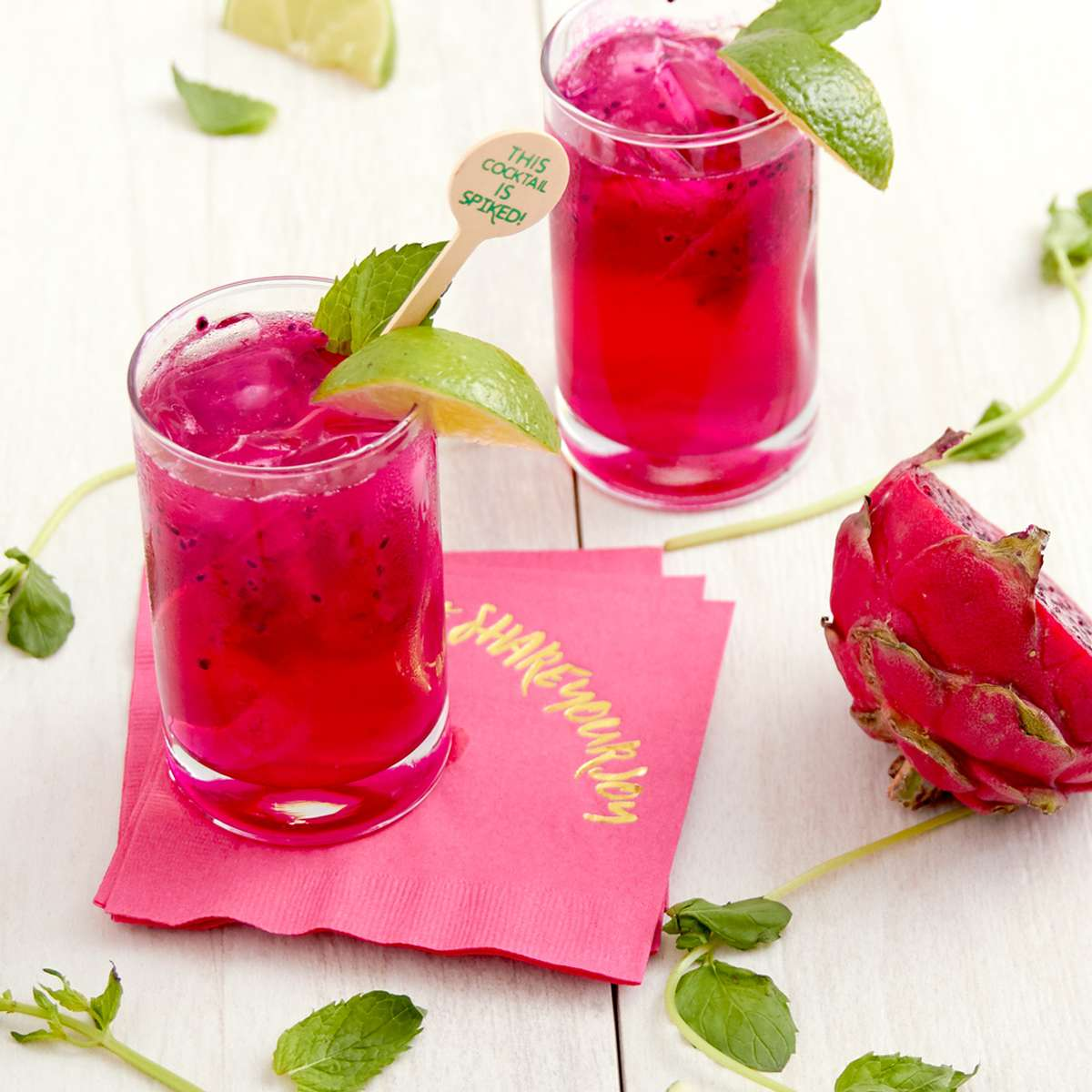 Dragon Fruit Mojito cocktail recipe with personalized cocktail napkins