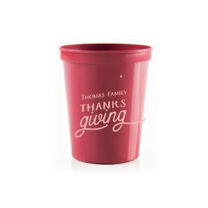 Personalized Maroon 16 oz Stadium Cup with Matte Pastel Pink Ink Cup Ink Colors has a Tree RSVP graphic and is good for use in Lovely Press themed parties and will give your party the personalized touch every host desires.