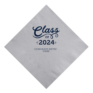 Our personalized Galvanized Silver Shimmer Cocktail Napkin with Matte Navy Foil can't be beat. Showcase your style in every detail of your party's theme!