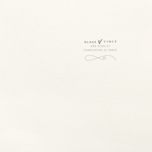 ForYourParty's elegant Lettra Pearl White 110lb Invitation Envelope with Slate Letterpress Ink has a Fancy Flourish 3 graphic and is good for use in Wedding themed parties and couldn't be more perfect. It's time to show off your impeccable taste.