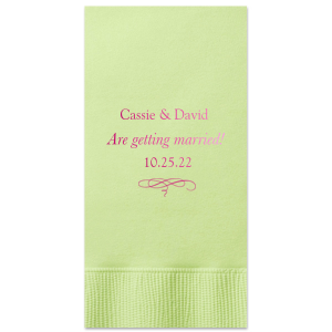 ForYourParty's personalized Honeydew Luncheon Napkin with Shiny Fuchsia Foil has a Flourish 14 graphic and will add that special attention to detail that cannot be overlooked.