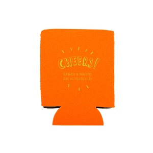 Our personalized Orange Flat Can Cooler with Matte Chartreuse Ink Cup Ink Colors has a Cheers graphic and is good for use in Words, Drinks, Hearts themed parties and are a must-have for your next event—whatever the celebration!