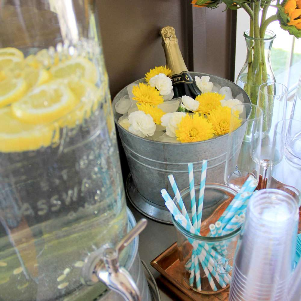 Flowers and ice champagne bucket